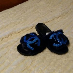 Shoes - Last pair blue and black initial fur slippers